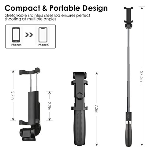Bluetooth Selfie Stick Tripod, ELEGIANT 2 in 1 Extendable Monopod Selfie Stick with Removable Mini Bluetooth Remote, Adjustable Head and Tripod Stand Selfie Stick for iPhone/Huawei/Samsung (Black) by ELEGIANT (Image #6)