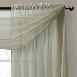 """Empire Home Solid Sage Green Sheer Voile Scarf Valance 216"""" Long Scarves"""
