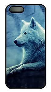 White Wolf Sitting and Weeping DIY Hard Shell Black Best Fashion iphone 5/5s Case