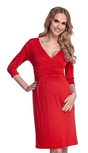 Happy Mama. Mujer. Elegante vestido de maternidad en punto elástico 001p Rojo