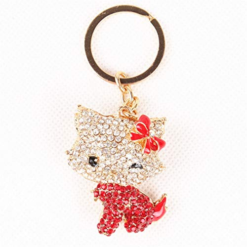 Crystal Butterfly Keychain Favors (1 Set Red Butterfly Cat Crystal Purse Keychains Pendant Women Love Heart Wrist Wristlet Key Fob Excellent Popular Pocket Teenagers Bag Car Keyring)