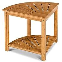 Deals on Costway Corner Shower Bench Bamboo Spa Seat w/Storage Shelf