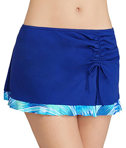 Profile by Gottex Women's Oceana Skirted Hipster Bikini Bottom Multi Blue 16 (Swimwear Womens Skirted Hipster)