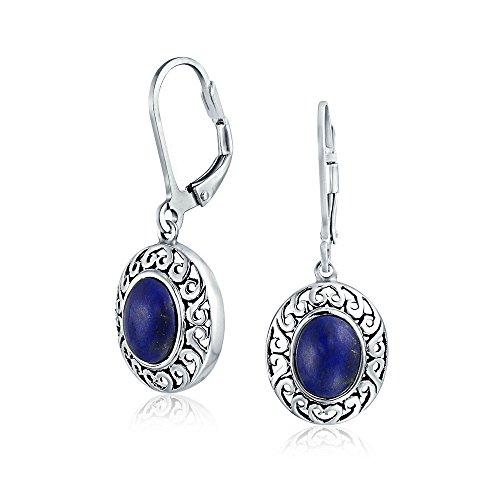 - Bali Style Blue Lapis Lazuli Gemstone Round Bezel Set Leverback Dangle Earrings For Women Oxidized 925 Sterling Silver
