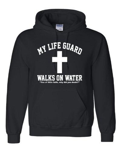 - X-Large Black Adult My Life Guard Walks On Water Christian Easter Religious Facebook Hooded Sweatshirt Hoodie