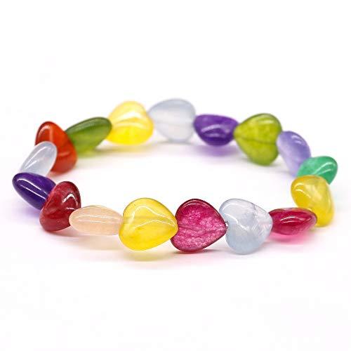 Strand Heart Toggle - FOKLC Bracelet Summer Beach Random Color Heart Nature Stone Bracelet Rainbow Lucky Strand Bracelet for Girls