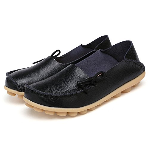 SCIEU Women's Lace Up Leather Loafers Casual Slip-On Driving Moccasins Flats Shoes Black PoYlB88