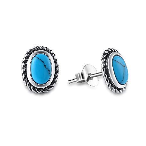 (Agvana Sterling Silver Oval Created Turquoise Small Stud Earrings Elegant Jewelry Gifts for Mom Women Girls)