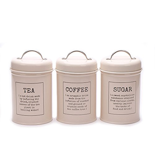 Home By Jackie Hot Sale X021 Set of 3 Metal Food Storage Tin Canister/Jar with Lid (cream)
