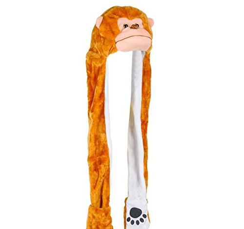 35'' PLUSH MONKEY HAT WITH LONG PAWS, Case of 24 by DollarItemDirect