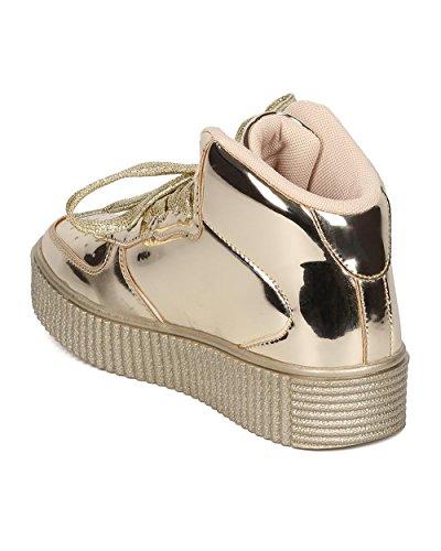 Sneaker Metallizzato A Specchio Da Donna - Sneaker Alta - Sneaker Flatform Creeper - Hk17 By Gold Metallic