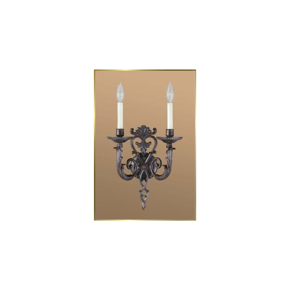 Wrought Iron Wall Sconce, JB 7328, 2 lights, Antique Brown, 12 wide X 16 high