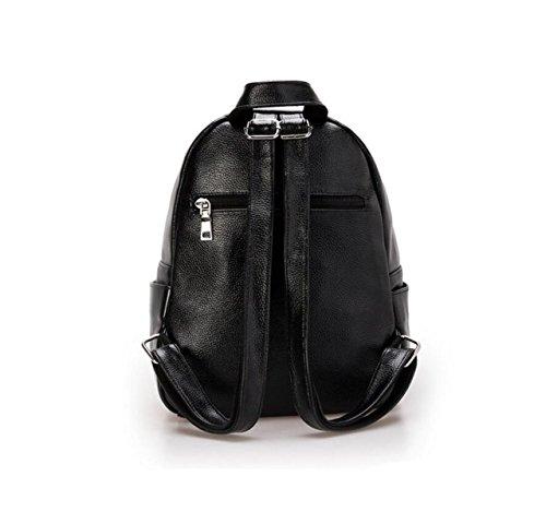 Mode Weichen Leder Damen Tasche Schultertasche Freizeit College Gewaschen Leder Rucksack Einfach,Grey-OneSize GKKXUE