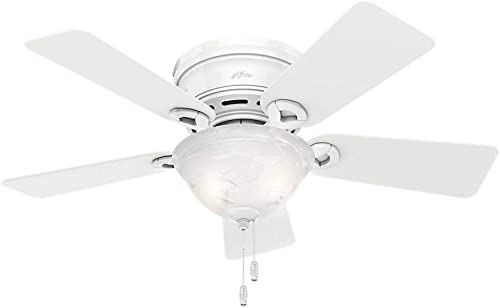 Hunter Fan 42 inch Low Profile Ceiling Fan in Snow White with Light Kit, 5 Blade Renewed Snow White