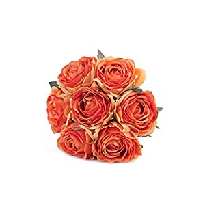 Kimura's Cabin Artificial Flowers Fake Silk Rose Flower Bouquet Floral Plants Decor for Home Garden Wedding Party Decor Decoration (Orange) 72