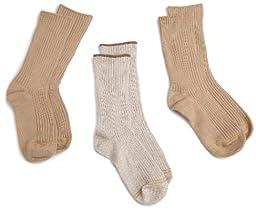 Gold Toe Big Boys\'3 Pack Cotton Crew Sock, Khaki Assorted, Large