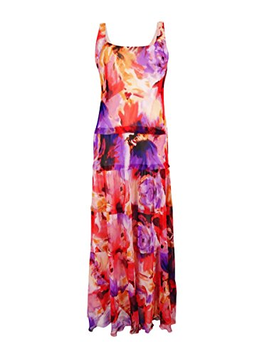 Nine West Womens Floral-Print Tiered Maxi Dress