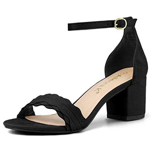 Sandals Heel Allegra Strap Women Ankle Low Buckle Black Block K SSZwxO