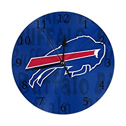 Gdcover Custom Buffalo Bills Quartz Wall Clock Arabic Numerals Silent Non-Ticking for Home Living Room Decor (9.8 Inch)