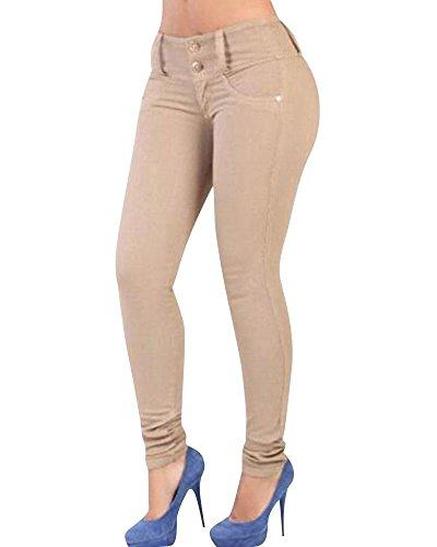 Vita Zhuikun Donna Jeans Cachi Denim Alta Leggings Skinny Pantaloni In Elastico awaFq