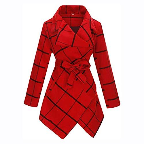 ZEFOTIM Womens Winter Lapel Faux Wool Coat Trench Jacket Long Sleeve Overcoat Outwear
