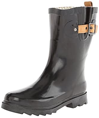 Chooka Women's Mid-Height Rain Boot, Black/Shiny, 6 M US