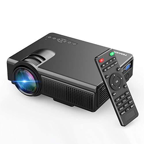 TENKER Upgrade Lumens Q5 Mini Projector, with Big Display LED Full HD Video Projector, Compatible with 1080P HDMI, Fire TV Stick, VGA, USB, AV for Home Theater Entertainment, Party and Games (Black) from TENKER