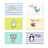 Fullive 24 Thank You Cards,6 Cartoon Animal Pattern Designs Thank You Notes Greeting Card with Envelops for All Occasion-Blank Inside (24 animal)