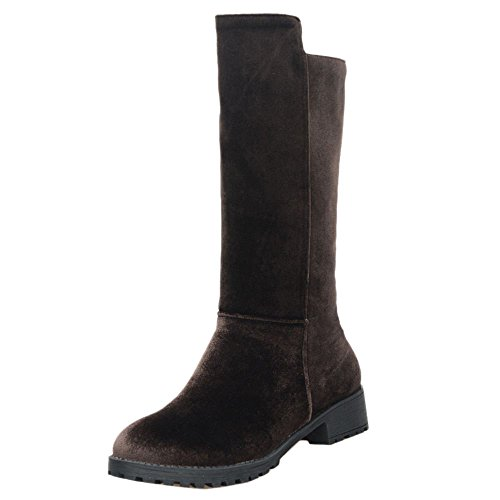 COOLCEPT Women Classic Riding Mid Calf Boots Low Heel Brown mHVU43te