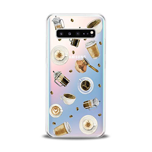 (Lex Altern TPU Case for Samsung Galaxy s10 5G Plus 10e Note 9 s9 s8 s7 New Aroma Cappuccino Cup Clear Sweet Design Phone Morning Coffee Pattern Cover Print Transparent Protective Lightweight Silicone)