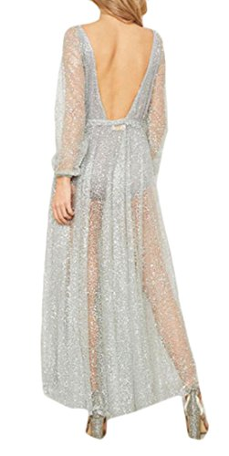 Solid Jaycargogo Color Dress Silvery V Deep See Neck Through Sexy Womens Cocktail Sequin wqSpqFX