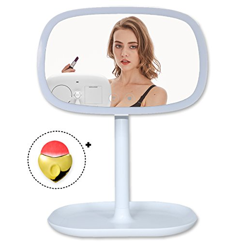 TOLEAP Makeup Vanity Mirror 37 Pcs Led Lighted With Touch Screen and 10 Pcs Backside Led Lights as A Table Light,360°Adjustable Rotation,Dual Power Supply, Countertop Cosmetic Mirror - Shape Eye Face Frames Cat