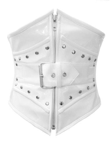 Negro Rojo Morado o blanco PVC acero deshuesada con cordones Hebilla Amplia trasera de la cintura Cincher corsé Waspie cinturón Blanco