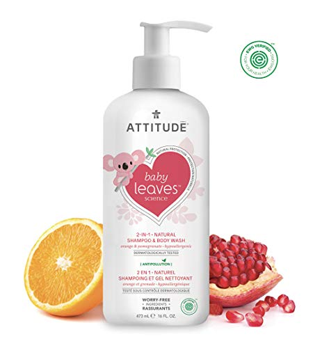 ATTITUDE Natural 2-in-1 Baby Shampoo and Body Wash | EWG VERIFIED, Hypoallergenic, Dermatologist Tested & Tear-Free Baby | Baby leaves science Collection | Pear Nectar (16 Fluid Ounce)