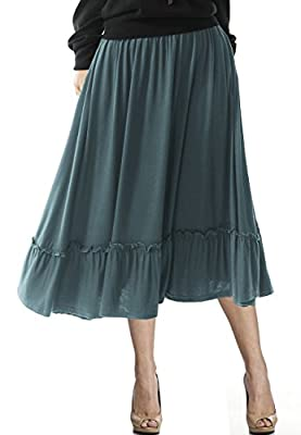 TRENDY UNITED Women's Bohemian Style High Waist Shirring Ruffle Pocket Skirt