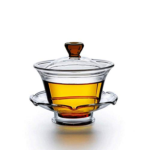 Price comparison product image Gaiwan QMFIVE China Traditional Glass Kongfu tea cup-150ml / 5.3oz, Classic Tea Set bowl with lid and Saucer, Best Gift, Red