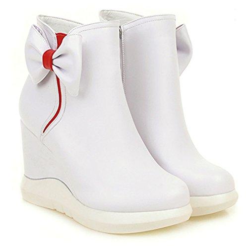 YE Damen Bequeme Süße High Heel Plateau Wedges Keilabsatz Kurzschaft Stiefeletten mit Schleife und Reißverschluss 9cm Absatz Ankle Boots Weiß