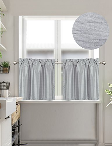 Home Queen Faux Silk Rod Pocket Tier Curtains for Small Wind