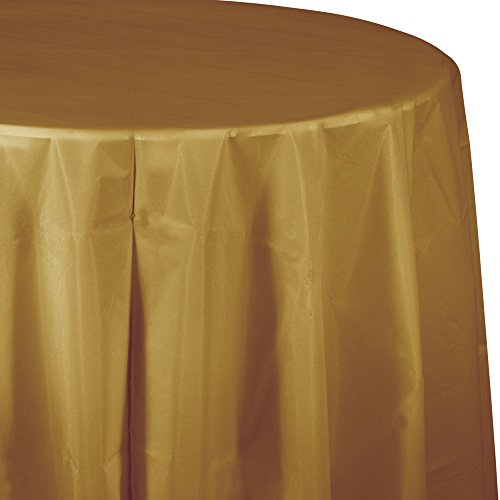 Creative Converting Tissue Poly Table Covers Octy Round Paper Tablecloth, 3 Ply 82 Inch x 82 Inch For 60 Inch Round Tables - 3 Pack - Various Colors and Quantities (Glittering Gold, 2 - 3 Packs)