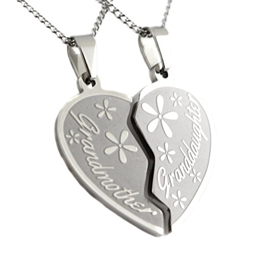 Grandmother, Granddaughter Two Piece Heart Pendant Break Apart Necklace 2 Half Hearts (2) 18 Inch Chains