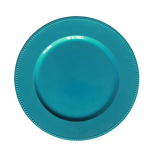 Turquoise Plastic Beaded Charger Plates - 12 pcs 13 Inch Round Wedding Party Decroation Charger Plates (Turquoise, 12)
