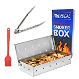Smoker Box for Grill + Tongs & Brush BBQ Accessories Set - Thick Heavy-Duty Stainless Steel Smoke Box - Great Tools for Gas & Charcoal Grilling - Free Instructions & BBQ Recipes eBook Included