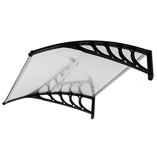 FCH Window Awning Door Canopy, 40 x 40 Window Awning Overhead Door Modern Polycarbonate Cover Outdoor Front Door Patio Canopy UV Rain Snow Sunlight Protection Hollow Sheet Black