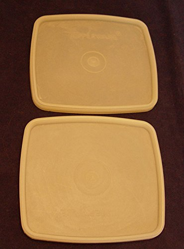 Set of 2 Tupperware Sheer Square Round Replacement Lids Seals #310 (Tupperware Square Round Lids)