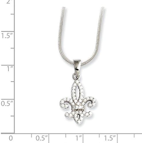 Sterling Silver /& CZ Brilliant Embers Fleur De Lis Necklace