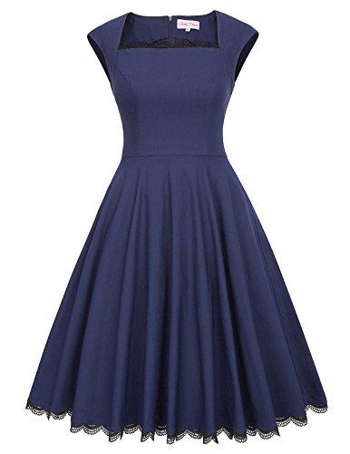 Bella Blue Dresses (Belle Poque Pin-up Knee Length Square Neck High Waist Cocktail Dress L Navy Blue BP434-3)