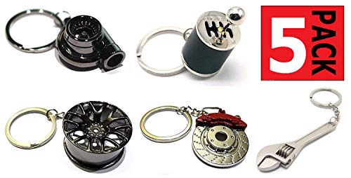 GT//Rotors Five Piece Auto Parts Metal Key Chain Set - Spinning Turbo Keychain, Six Speed Manual Gearbox Keychain, Wheel Tire Rim Keychain, Red Brake Rotor Keychain, Silver Wrench Keychain