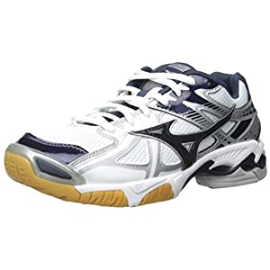 Mizuno Women's Wave Bolt 4 WH-NY Volleyball Shoe, White/Navy, 9 D US