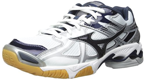 Mizuno Women's Wave Bolt 4 WH-NY Volleyball Shoe, White/Navy, 9.5 D US by Mizuno