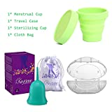 Anytime Menstrual Cups with Carry Case & Sterilizer Cup Reusable Medical Silicone Soft Lady Period Cup 6 Colors Small & Large Size (Green, Large)